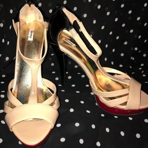 Red, Black and Tan patent heels